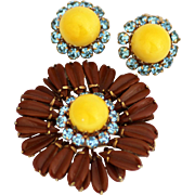 Schreiner, Ruffled Chocolate Daisy Brooch and Earrings