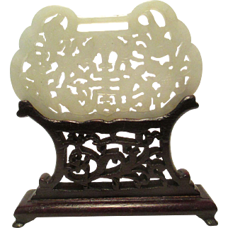 A well carved Chinese jade plaque