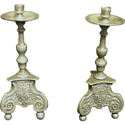 PEWTER CHURCH CANDLE HOLDERS