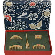 Japanese Hand Painted Hair Combs - Miniatures - MIB