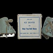 SALE PENDING 1940's - 50's Blue Leatherette Ice Skates - MIB