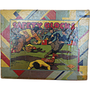 1920's Hal Sam Safety Blocks - FOOTBALL Theme - signed Benton