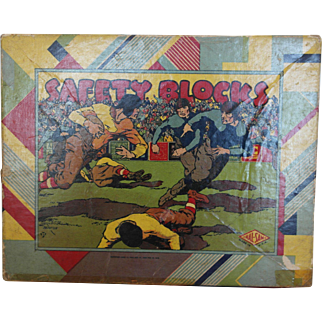 1920's Hal Sam Safety Blocks - FOOTBALL Theme - signed Benton