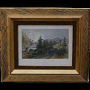 REDUCED W.H. Bartlett Little Falls NY Railroad Scene Framed Print