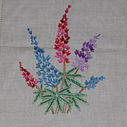 SALE Vintage Embroidered Lupine Table Scarf or Runner