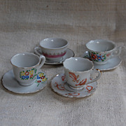 SALE PENDING 5 Vintage Doll Size Tea Cups and Saucers Japan