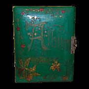 SALE Antique Green Celluloid and Velvet Photo Album