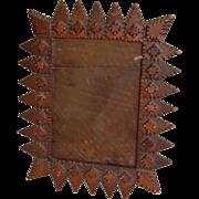 SOLD Adirondack Tramp Art Chip Carved Photo Frame