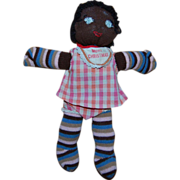 SALE Vintage Black Americana Striped Sock Doll
