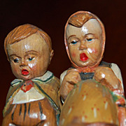 SALE Black Forest Carved and Painted Boy and Girl figures Hummel inspired