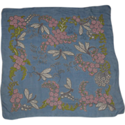 SALE PENDING Vintage Dragonfly and Floral Silk Chiffon Scarf