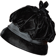 Tufted Black Velvet and Satin Cloche Hat