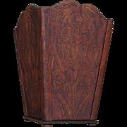 SALE Wonderful Flemish Pyrography Wooden Waste Paper Basket