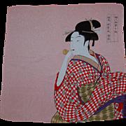 Vintage Japanese Geisha Girl Crepe Scarf
