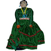 Vintage Cloth Mexican Doll in Green Velvet Dress signed