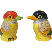 Brightly Colored Bird Salt and Pepper Shakers Japan