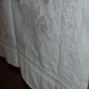 2 Vintage Damask Style Towels Heavy Cotton Rose + Ribbon