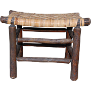Vintage Old Hickory Foot Stool with Splint Seat