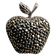 SALE Sterling and Marcasite Apple Brooch or Pin
