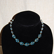 SALE Pale Aqua Faceted Crystal Bead Necklace Sterling Clasp