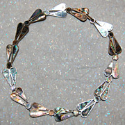SALE Sterling and Abalone Vintage Necklace Mexico Signed