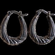 SALE Vintage Sterling Silver Etched Hoop Earrings