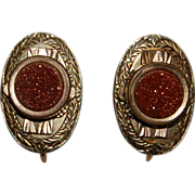 SALE Early 1900's Goldstone Etched Earrings Gold Filled screw backs