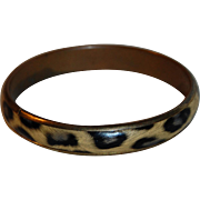 SALE Vintage Faux Leopard Print Bangle Bracelet