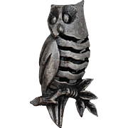 SALE Tiny Pewter Owl Pin Brooch