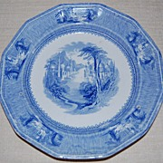 "REDUCED J Clementson Ironstone 'Siam' Pattern 9"" Plate Blue and White mid 19th c."