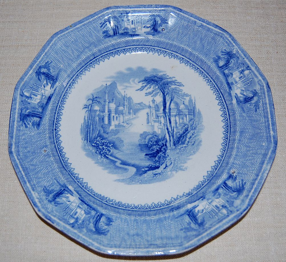 """J Clementson Ironstone 'Siam' Pattern 9"""" Plate Blue and White mid 19th c."""