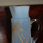 REDUCED Hand Blown Opal Glass Pitcher with palm tree painting