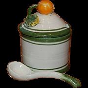 Italian Majolica Covered Jam or Mustard Jar w/ Spoon