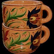 2 Balatonfured Hungary Hand Painted Cups 1971