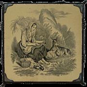 Mintons Shepherdess  Antique Tile Trivet