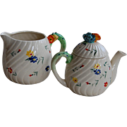Colorful Marutomoware Flower Teapot and Creamer Pitcher