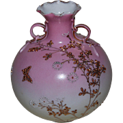 Oriental Moriage Vase with Handles Blushing Pink marked