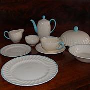 Vintage Susie Cooper Breakfast Set Turquoise Swirl pattern
