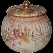 English Doulton Burslem Hand Painted Biscuit Jar