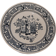 Blue Transferware Plate Mother Hubbard Old Hall England