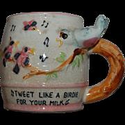 SALE Vintage Child's Birdie Whistle Mug