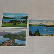 3 Vintage Lake Placid Scenic Postcards 1940's