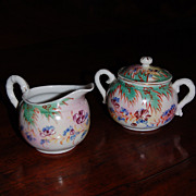 REDUCED Oriental Bone China Sugar and Creamer Hand Painted