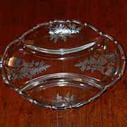 REDUCED Cambridge Silver Overlay Poppies Relish Serving Dish