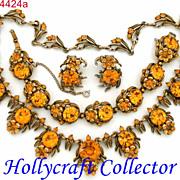 SALE 24424a - Vintage Hollycraft 1954 Topaz Color Flower Rhinestones Set