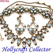 SALE 24514a  - Vintage Hollycraft 1954 Ice Blue Rhinestones Parure