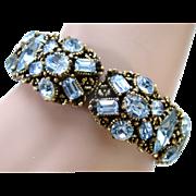 SALE 24521a - Vintage 1954 Hollycraft Baby Blue Single Hinged Bracelet