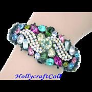 SALE 25219a - Rainbow Multi Color HOLLYCRAFT RARE Black Painted Double Hinged Bracelet