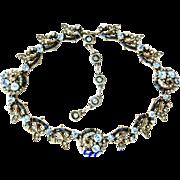 SALE 25801a - Vintage Hollycraft 1955 Baby Blue Stones & Montana Baguettes Necklace