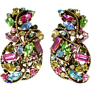 SALE 25952a - Vintage Hollycraft 1957 Pastel Rhinestones Bigger Bolder Earrings